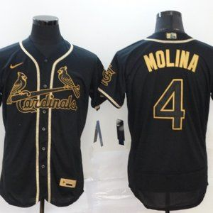 Cardinals #4 Yadier Molina Black Golden Jersey